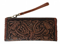 "Handmade Tooled Leather Small Brown Clutch (4.5"" x 9.5"")"