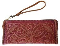 "Handmade Tooled Leather Small Magenta Clutch Purse Guatemala (4.5"" x 9.5"")"