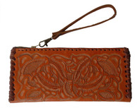 "Handmade Tooled Leather Small Orange Clutch Purse Guatemala (4.5"" x 9.5"")"