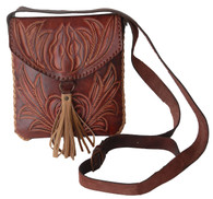 "Handmade Brown Tooled Leather Purse Fringe Guatemala ( 7.5"" x 8.5"")"