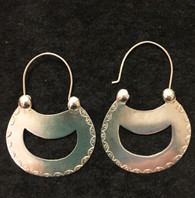 "Handmade Large Hoop Silver Earrings Chile (2.75"" x 1.5"")"