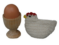 Handmade Crocheted and Wooden Egg Cup Guatemala