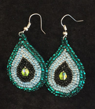 "Handmade Beaded Tear Drop Earrings Guatemala (2"" drop)"