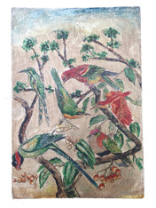 "Wooden Folk Art Birds Hand Painting Peru 1 ( 8."" x11.75"")"