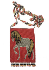 "Handmade Beaded Horse Shoulder Bag 3 (7"" x 5.25"")"
