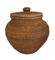 "Handmade Vintage Lidded Basket Indonesia (7.5"" x7.5"")"