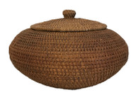 "Handmade Vintage Lidded Basket Indonesia 2 (6"" high x 8""wide)"