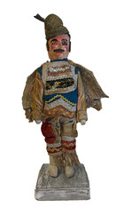 "Folk Art Wooden Man with Hat Guatemala (7""' x 14"")"