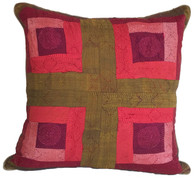 "Hand Quilted Reds 1 Patchwork Silk Pillow India (20"" x 20"")"