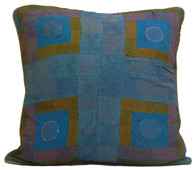 "Hand Quilted Patchwork Blues Silk Pillow 4 India (19"" x 19"")"
