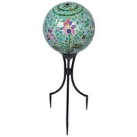 Mosaic Floral Gazing Ball with Keepsake