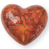 Autumn Leaves Cloisonne Heart