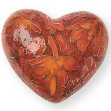 Autumn Leaves Cloisonne Heart