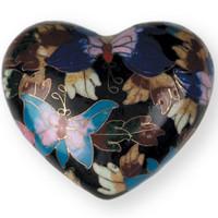 Butterfly Garden Cloisonne Heart