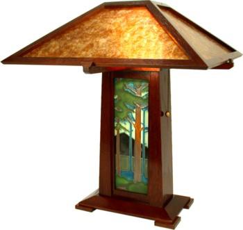 Schlabaugh Oak U0026 Mica Table Lamp With Motawi Tile