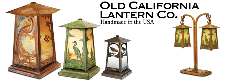 "Old California Lantern Company: Baldwin Avenue Lamp, Extra Large 22"" Inch  Photo Shows: Peacock in Tree Filigree with Old Penny Finish and Gold Iridescent Glass This unique, solid brass Craftsman-style lighting is simply timeless. Handmade in the USA, ful"