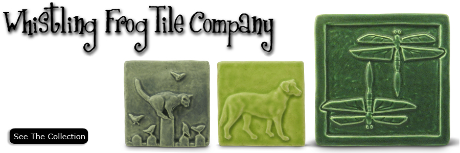 Whistling Frog Tile Company was created in Ferndale, Michigan in 1993 by Rick Pruckler.  He specialized in creating handmade gift tile and architectural installations.  Other artists, soon joined in with their own styles.  Susan Cassabon created a softly