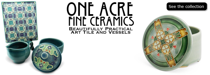 One Acre Ceramics pottery and tiles are handmade by Sarah and Thomas Gelsanliter at their studio in Augusta Township, Michigan.  The intricate patterns on the tiles and pottery are designed and hand carved.