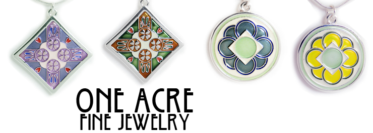 One Acre Ceramics Swedish Hearts Pendant in Green, Tan, White and Red  Silver Pendant Jewelry - in stock and ready to ship today. Comes in small velour pouch all ready for gift giving and ships for free! Pendants have a silver plated finish and are made o