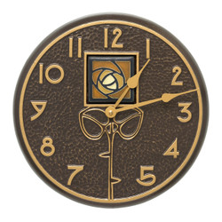 Indoor/Outdoor Amber Rose Wall Clock. Dard Hunter Rose Tile design by Motawi Tileworks.  French Bronze finish.