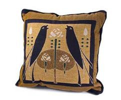 Pillow with Jade Motawi Songbirds Design