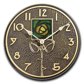 """Wall Clock in French Bronze finish.  3"""" Green Rose Tile by Motawi Tileworks."""