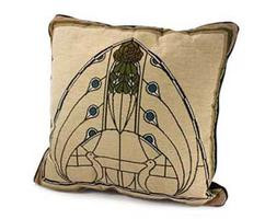 Pillow with Dard Hunter Peacock Arch Design