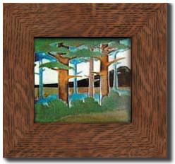 """Motawi Tileworks Forest Landscape 8"""" x 8"""""""