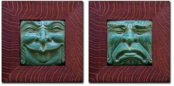 "Pewabic Comedy and Tragedy Duet 6"" x 6"""