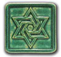 "Pewabic Star of David  4"" x 4"" Green"