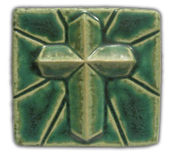"Pewabic Marcos Cross  4"" x 4"" Green"