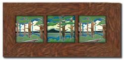 "Dard Hunter 3"" Solid Oak Legacy Frame (fits three 6"" x 6"" tile)"