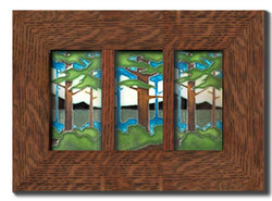 "Dard Hunter Solid Oak Frame with Dividers (fits three 4""x 8"" tile)"