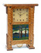 Greene and Greene Inspired Pendulum Mantel Clock in Nut Brown Oak with Mountain Landscape Tile