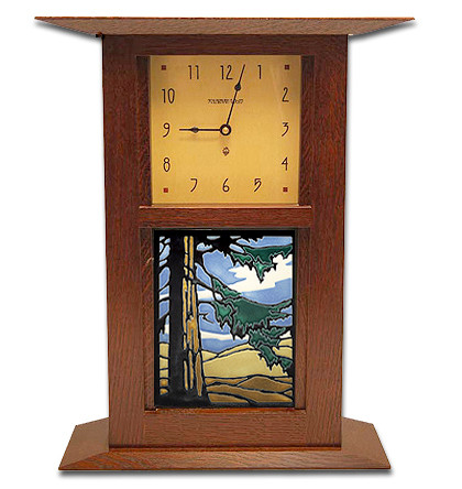 Schlabaugh and Sons Clock with Handmade Motawi Redwoods Tile