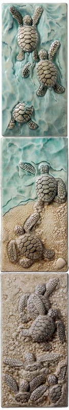 Baby Sea Turtle Triptych: Body Surfing, I Win, Everybody Out . Handmade at Medicine Bluff Studio