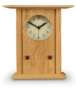 Schlabaugh and Sons Clock - Prairie Style in Natural Cherry