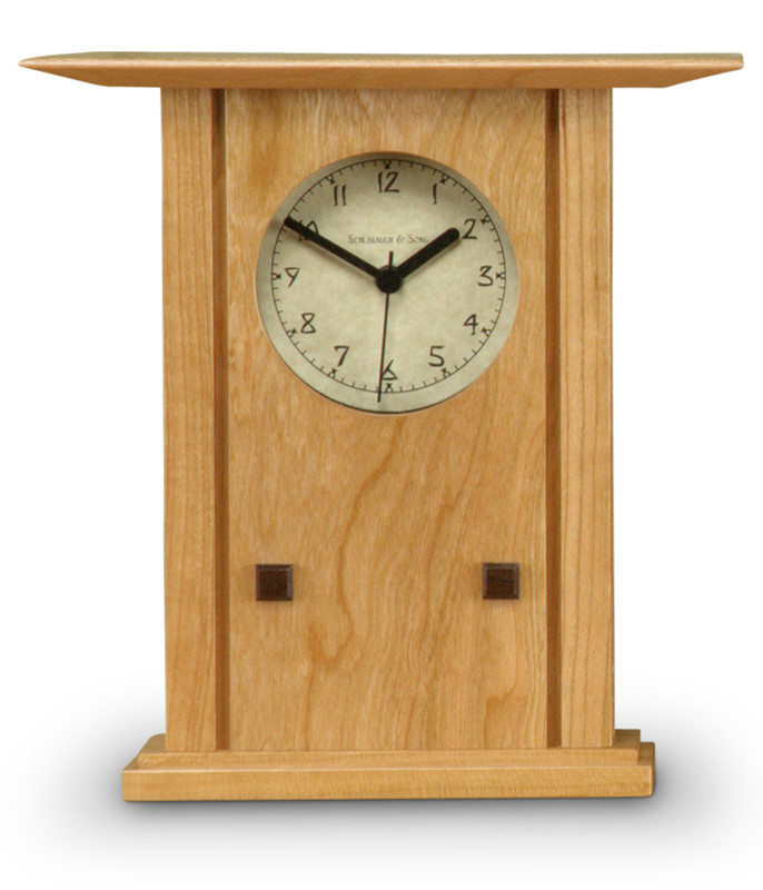Schlabaugh and Sons Clock - Prairie Style Mantel Clock in Natural Cherry