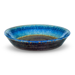 """10"""" Large Pie Plate in Amber Blue"""