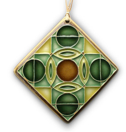 One Acre Ceramics - Split Circles Ornament Green 2.75""