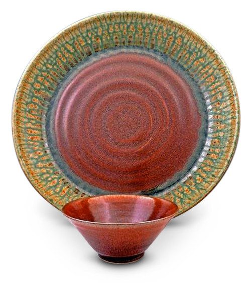 Green Ash Chip/Veggie and Dip set by Blanket Creek Pottery