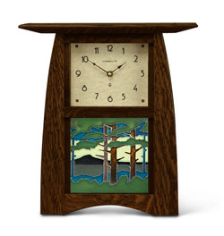 Schlabaugh Handmade Clock in Craftsman Oak with Motawi Tileworks Landscape Tile