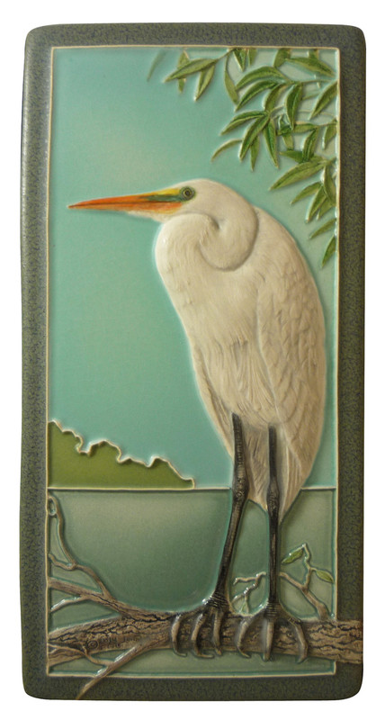 Great Egret 4x8 Tile from Medicine Bluff Tile