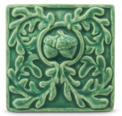 4x4 Acorn Floral Tile by Whistling Frog Studios