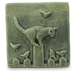 Cat on Fence Tile by Whistling Frog Tile Co.