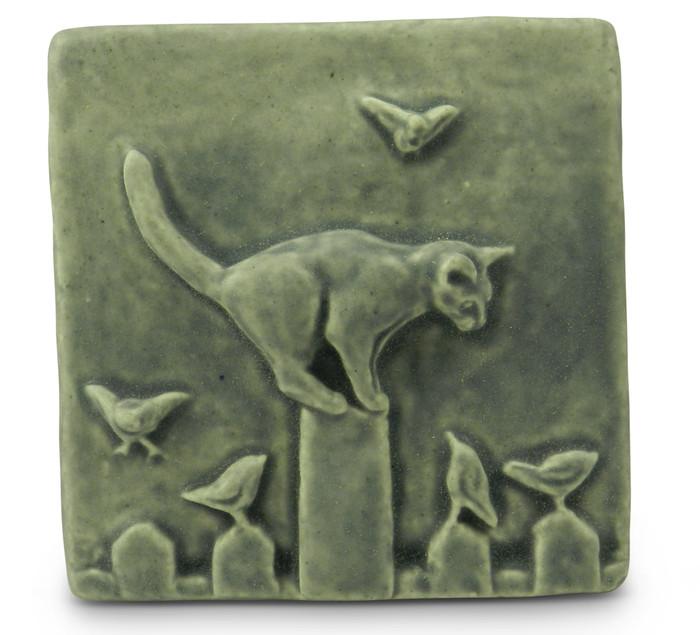 Cat on Fence Tile by Whistling Frog Tile Co.