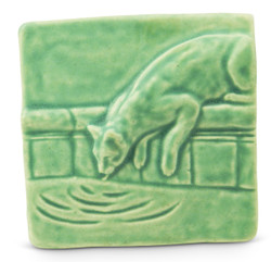 Lapping Cat Tile, 4x4