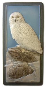 "Snowy Owl  4"" x  8"" Tile - Medicine Bluff Studios"