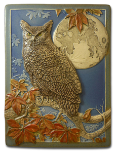 "Moonlit Owl Great Horned Owl 5"" x  8"" Tile - Medicine Bluff Studios"