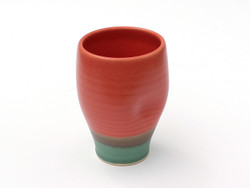 One Acre Ceramics Handmade Thumb Cup Red and Green